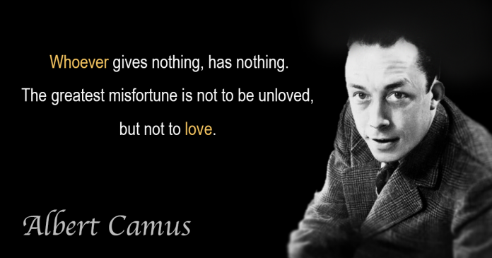 Photograph of Albert Camus with quoted text on love