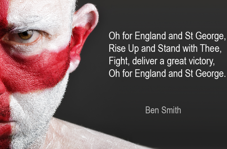 For England and St George an image depicting a man with an English flag painted on his face